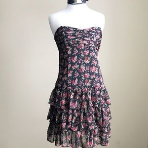 Express Strapless Floral Ruffle Dress Black Red